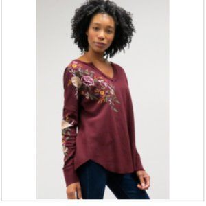 Caite  Floral Embroidered Tobi Thermal Top NEW!